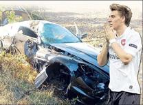 İşte araba kazasına karışan futbolcular.
